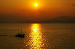 Sunset in Greece. Photo taken in Hydra island in the Saronikos gulf royalty free stock photo