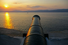 Sunset in Greece. Sunset in Hydra island in the Saronikos gulf, Greece royalty free stock photography