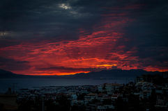 Sunset in greece alimos. Sunset in greece red sky Royalty Free Stock Image