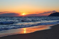 Sunset in Greece stock images
