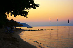 Sunset in greece. A beautiful summer sunset in island Thassos, Greece Stock Image