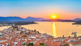 Sunset in Greece, Poros Royalty Free Stock Photography