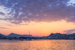 Sailing yacht on the sea. Sunset in greece yachting cyclades islands Royalty Free Stock Photos
