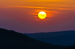 Sunset at greek coast in Sithonia, aerial photo from the top of a hill stock photo