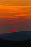 Sunset at greek coast in Sithonia, aerial photo from the top of a hill Stock Photos