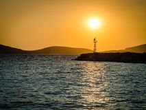 Sunset on a greek island Royalty Free Stock Images