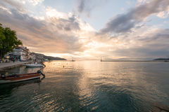 Sunset at a Greek port. Stock Images