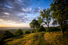 Sunset from the green hills of the Jura Royalty Free Stock Photo