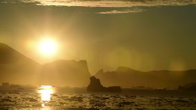 Sunset in the Greenland stock footage