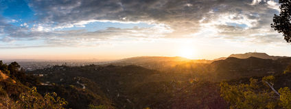 Sunset from the Griffith Observatory. Royalty Free Stock Images