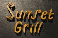 Free Sunset Grill Restaurant Sign, Los Angeles, California Royalty Free Stock Photography - 182675367