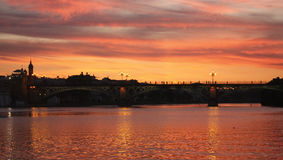 Sunset on the Guadalquivir. Royalty Free Stock Photo