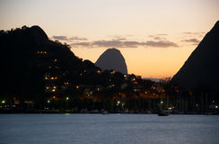 Sunset in Guanabara Bay and Sugar Loaf Royalty Free Stock Images
