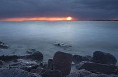 Sunset on the Gulf of Finland, Russia Royalty Free Stock Photos