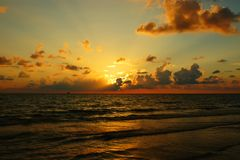 Sunset on Gulf of Mexico. Sunset at Naples Beach, Gulf of Mexico, Florida Royalty Free Stock Images