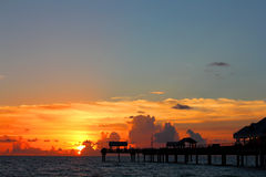 Sunset on the Gulf of Mexico. On the beach Royalty Free Stock Images