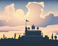 Sunset gurdwara Royalty Free Stock Image