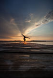 Sunset gymnast Royalty Free Stock Images