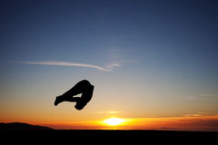 Sunset gymnast Stock Image