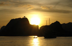 Sunset in Ha Long Bay royalty free stock photo