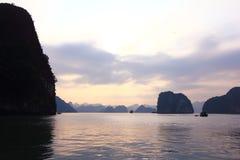 Sunset in Ha Long Bay Royalty Free Stock Photo