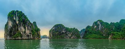 Sunset at Ha Long Bay in Vietnam royalty free stock photography