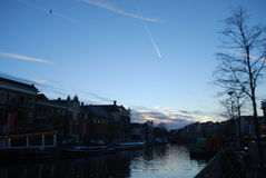 Sunset at Haarlem. Amazing scenery of Haarlem Riverside Stock Images
