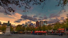 Sunset at The Hague, Plein Place stock photo