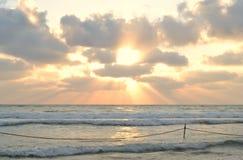 Sunset at Haifa Hof haCarmel, Carmel Beach, Dado, Mediterranean Sea in Israel royalty free stock images