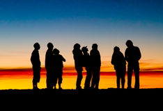 Sunset at Haleakala volcano, Maui . Group of tourists watching the stars at the top of Haleakala volcano during sunset, Maui, Hawaii royalty free stock images