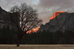 Sunset at half dome Royalty Free Stock Image