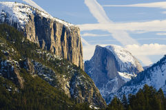 Sunset on Half Dome in Yosemite valley Royalty Free Stock Photography