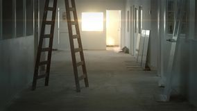 Sunset In Hall. Of a Building under Construction stock video footage