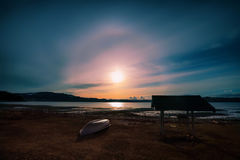 Sunset with the halo effect over the sun. Sunset at the Trondheim fjord with the halo effect over the sun stock photos