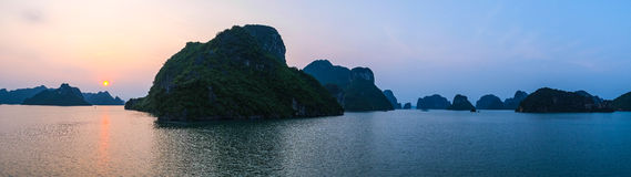 Sunset in Halong Bay, panorama Royalty Free Stock Photo