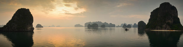Sunset at Halong bay Stock Photo