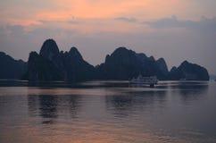 Sunset at Halong bay Royalty Free Stock Photo