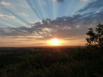 Sunset on Ham Hill. Evening Sunset on Ham Hill Somerset UK stock photography