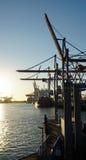 Sunset in hamburg harbor Royalty Free Stock Photography