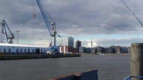 sunset Hamburg Harbour German Industry royalty free stock photo