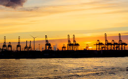 Sunset at the Hamburg harbour Stock Photos