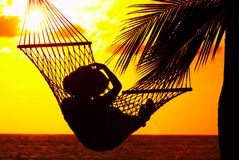 Sunset and hammock Royalty Free Stock Photos