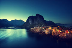 Sunset in Hamnoy village, Lofoten islands, Norway Royalty Free Stock Image