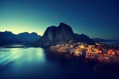 Sunset in Hamnoy village, Lofoten islands, Norway Royalty Free Stock Image