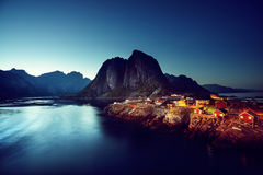 Sunset in Hamnoy village, Lofoten islands, Norway Royalty Free Stock Photos