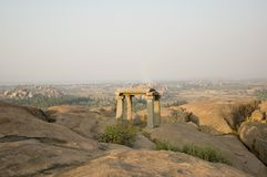 Sunset Hampi. Sunrise Hampi. Beautiful sunset in the mountains and ruins royalty free stock photography