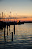 Sunset at harbor. And bridge Stock Photography