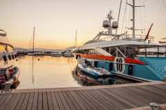 Sunset in the harbor with Aurelia  yacht Stock Photos
