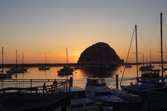 Sunset harbor. A beautiful sunset in a harbor in  California Stock Photos