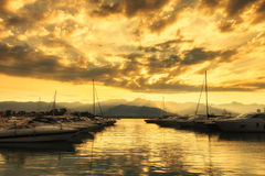 Sunset on the harbor, Bocca di Magra, La Spezia, Italy Royalty Free Stock Photography